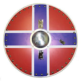 Round wooden handmade leather grip Norway flag viking shield