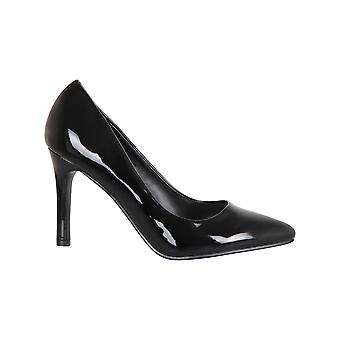 Women Ladies Classic Black Patent Court Shoes Work Office Party High Heel Pumps
