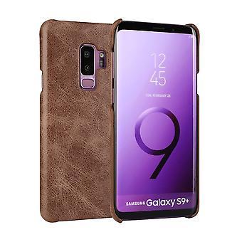 Für Samsung Galaxy S9 + PLUS Fall, elegante echte Schutzleder Abdeckung, Kaffee