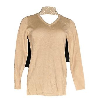 Belle by Kim Gravel Women's Sweater Knit Faux Pearl Collar Beige A343339