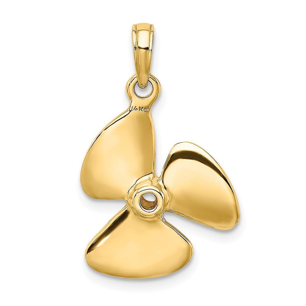 14 k Gold 3 d Drei-Blatt-Propeller mit Zentrum Loch hoch polnischen Charme Anhänger Halskette Schmuck Geschenke für Frauen