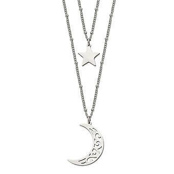 Edelstahl poliert 2 Strang Perlen Stern und himmlischen Mond Halskette 30 Zoll Schmuck Geschenke für Frauen