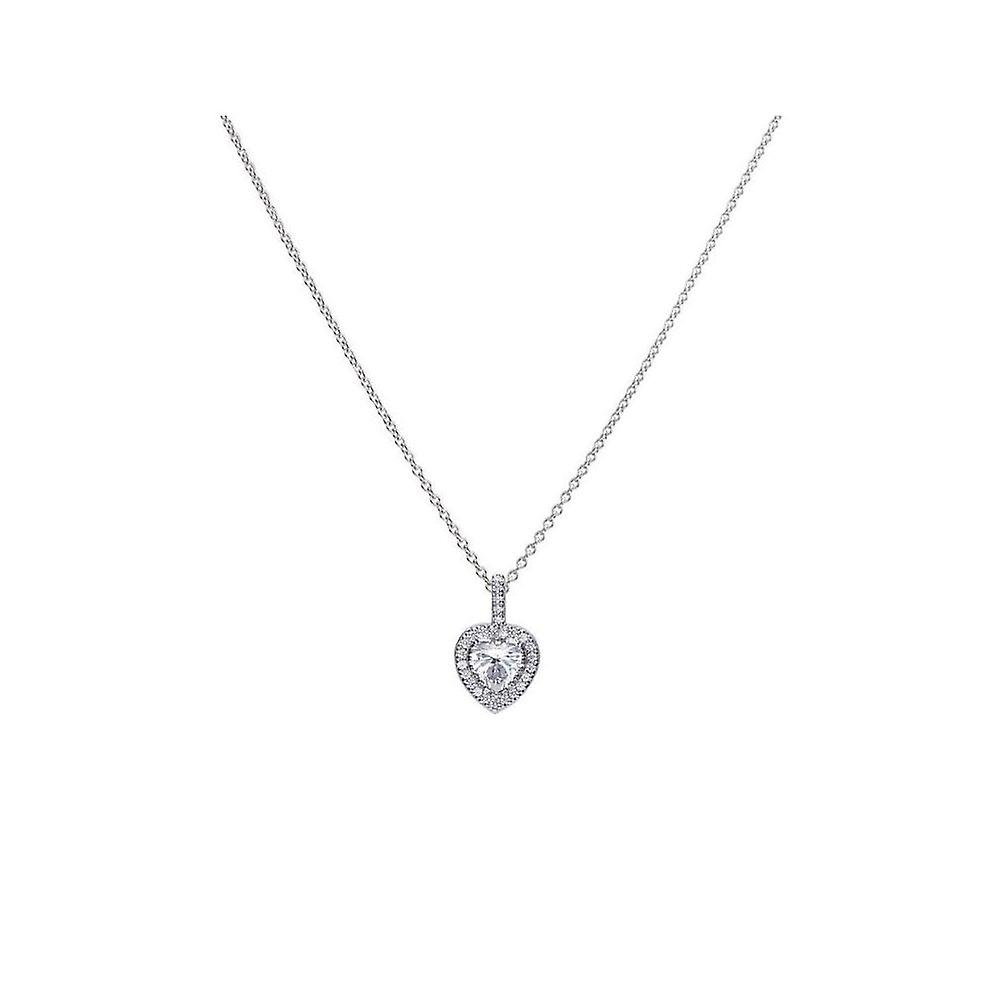Diamonfire Silver & White Zirconia Pave Set Heart Pendant