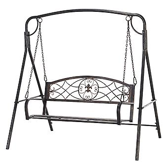 Outsunny Steel Frame 2-Seater Antique Swing Chair Back Scrolling Curved Seat Armrests A Frame Hanging Chains Safe Elegant Beautiful Bronze Tone