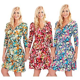 Pistachio Women's Splash Print Elbow Length Sleeve Wrap Style Dress