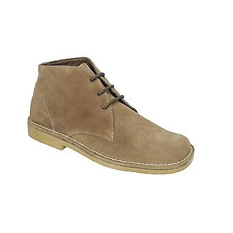 Roamers Sand Real Suede 3 Eyelet Desert Boot Fuller Fitting Textile Lining Tpr Sole