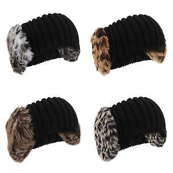 Womens/dames gebreide namaakbont Winter hoofdband met oorkappen