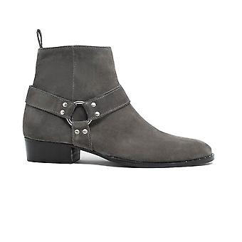 Walk london brand cuban heel boot in grey suede
