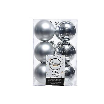 12 Silver 6cm Shatterproof Christmas Tree Baubles