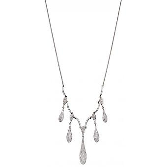 Joshua James Stardust Silver & Cz Organic Drop Necklace