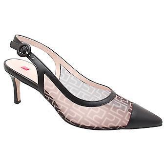 Hogl Black Mesh Sling Back Kitten Heel Shoe