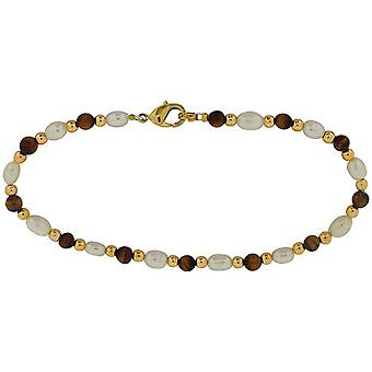 Toc Semi Baroque Bleached White Freshwater Pearl and Tigers Eye Gold Tone Bead Bracelet 35.5