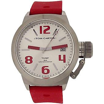 Tom Carter Unisex White Dial, Date  Stainless Steel Red Silicone Strap Watch