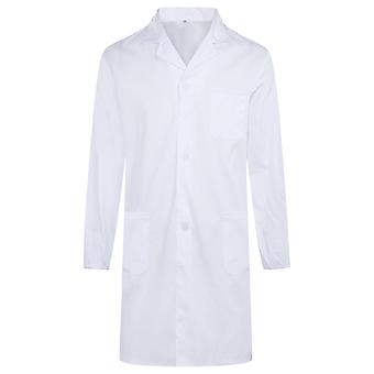 Allthemen Men's Medical White Coat Elastic Cuffs Long Sleeves Medical Gowns