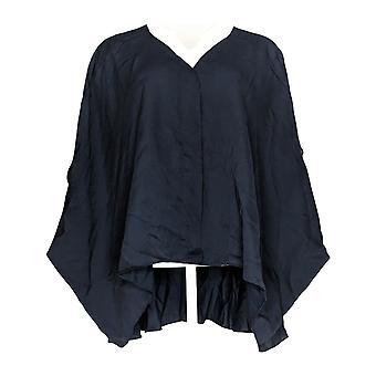 Laurie Felt Women's Plus Top V-Neck Blouse w/ High-Low Hem Blue A309541