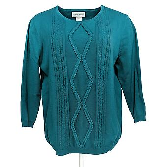 Alfred Dunner Women's Top Cable Stitch Front Pattern Green