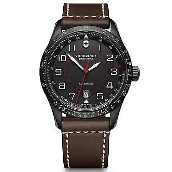 Victorinox Swiss Army Airboss Mechanische Zwarte Wijzerplaat Brown Lederen Band Heren horloge 241821 RRP Â £ 840
