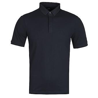 Armani Exchange Mesh Collar Navy Polo Shirt
