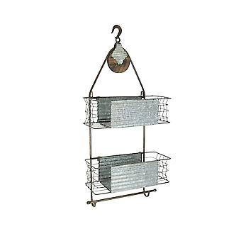Rustic Industrial Pully Wall Mounted 2 Shelf Bath Caddy With Towel Holder