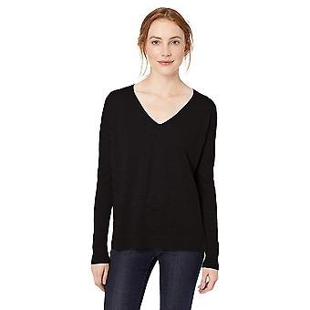 Marque - Daily Ritual Women-apos;s Lightweight V-Neck Sweater, Navy/White St...