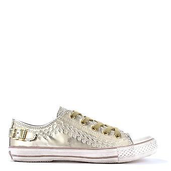 الرماد الأحذية العذراء الذهب الجلود المدربين