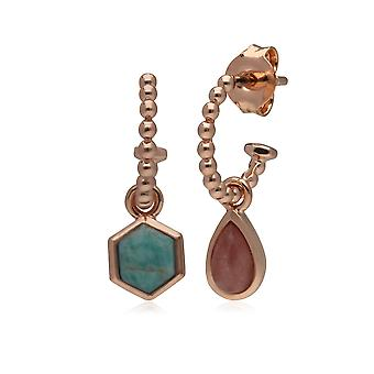 Micro Statement Rhodochrosite & Amazonite Mismatched Hoop Earrings in Rose Gold Plated 925 Sterling Silver 270E029601925