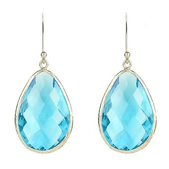 Latelita Sterling Silver Earring Tear Drop 22ct or topaze bleue clair cristal