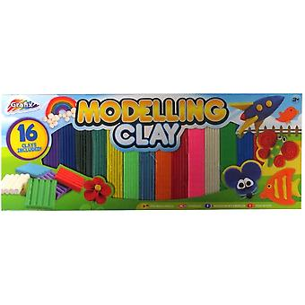 Grafix Modelling Clay Big Pack - Pack of 16, Mixed Colours
