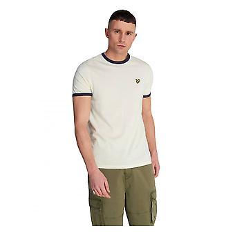 Lyle & Scott Ringer Kort ärm T-shirt Buttercream / marinblå