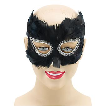 Bristol Novelty Unisex Adults Feather Eye Mask With Sparkly Trim