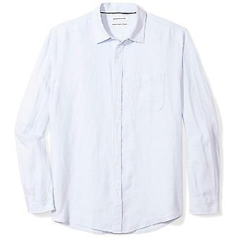 Essentials Men's Regular-Fit Long-Sleeve Linen Shirt, light blue, Large