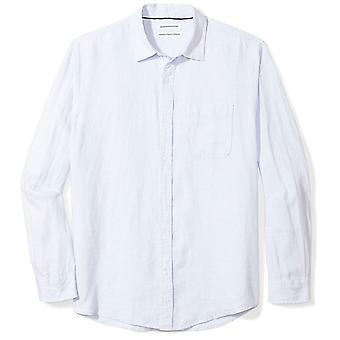 Essentials Men's Regular-Fit langærmet linned skjorte, lyseblå, stor
