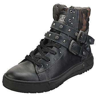 Mustang Lace Up Side Buckle Womens Ankle Boots in Black