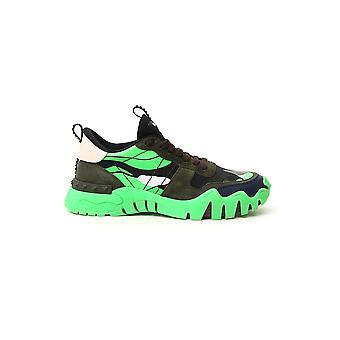 Valentino Garavani Uy2s0c88npg55w Heren's Zwart/groene leren sneakers