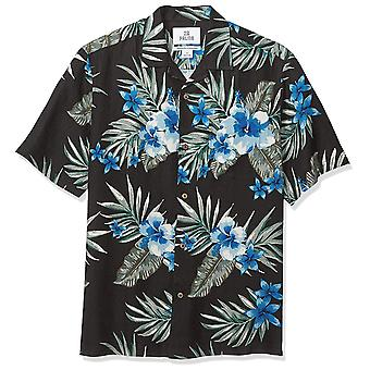 28 Palms Men's Relaxed-Fit Silk/Linen Tropical Hawaiian Shirt, Black/Blue Hib...
