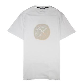 Stein Insel Gummi Kompass Logo Tshirt weiß