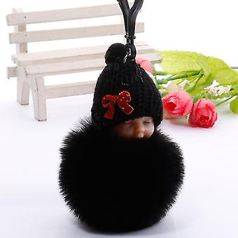 Cute Sleeping Baby Doll Key Chains Bag Toy- Key Ring Fluffy Pom Pom Faux Fur