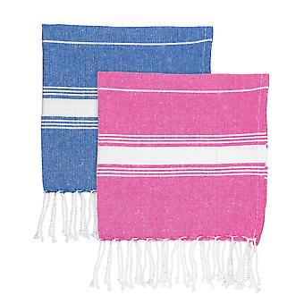 Nicola Frühling 100 % türkische Baumwolle Mikro Handtuch Set - Marine / rosa - Set von 4