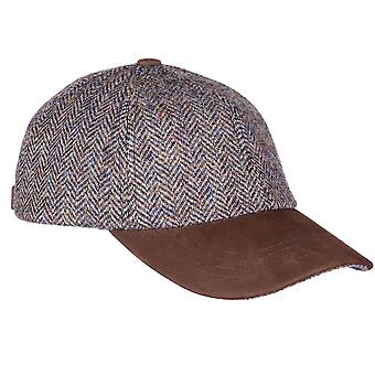 ZH016 (SLATE HB ONE SIZE ) Glencairn Harris Tweed Lth Pk BB Cap