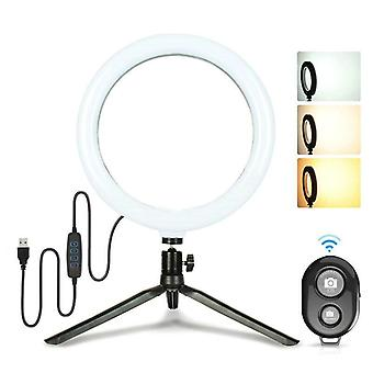 Selfie Led Fill Ring Light W / desk Trepod Stand, Bluetooth Remote Shutter Live