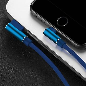 Nohon iPhone Lightning Charging Cable 90 ° - 3 Meter - Braided Nylon Charger Data Cable Android Blue