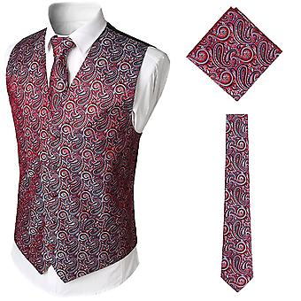 YANGFAN Mens V-neck Printed Suit Vest 3 Pcs Set