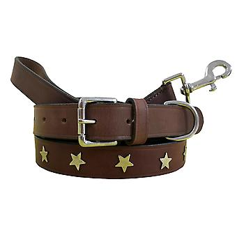Bradley crompton genuine leather matching pair dog collar and lead set bcdc12maroon