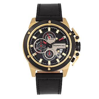 Morphic M81 Series Chronograph Leather-Band Watch w/Date - Noir/Or