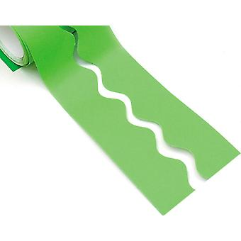 Lime Green 15m Scalloped Smooth Bordette Classroom Border Roll
