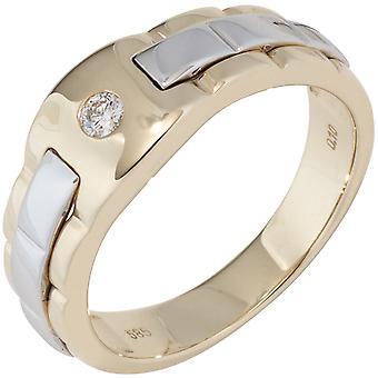 Anello uomo 585 Oro Giallo Oro Bianco Oro bicolore 1 Diamond Brilliant Anello uomo