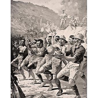 Soldados maoríes realizan Haka en Gaba Tepe en Turquía península de Gallipoli de 1915 de la guerra ilustrado álbum Deluxe publicado Londres 1916 PosterPrint