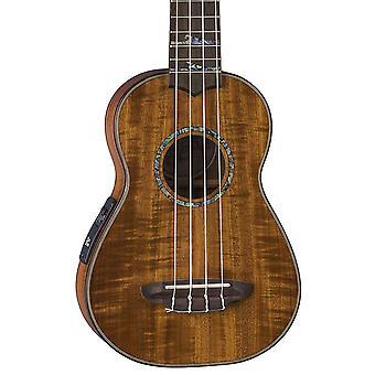 Luna high tide koa acoustic/electric soprano ukulele with preamp & gig bag, satin natural