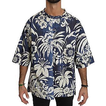 Dolce & Gabbana Sininen Kukka Lyhythihainen Puuvilla Top T-paita