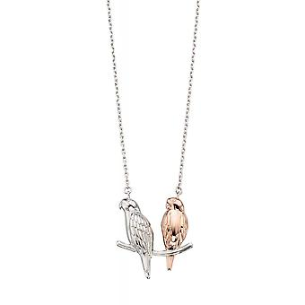 Joshua James Serenity Silver & Rose Gold Plated Love Birds Necklace